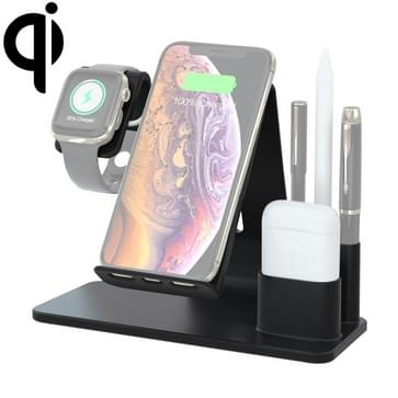N36 QI Vertical Fast Wireless Charger for Mobile Phones & Apple Watch & AirPods  with Pen Holder & Mobile Phone Holder (Black)