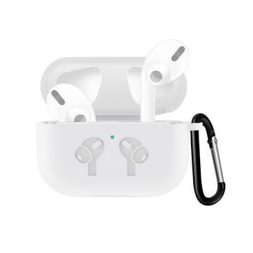 For AirPods Pro Silicone Flip Cover Earphone Protective Case with Anti-drop Buckle (White)
