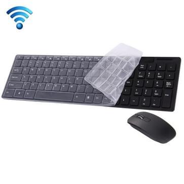 JK-906 draadloos 2.4 GHz ultra-dun Toetsenbord met 102 toetsen en cover + draadloze optische Muis met ingebouwde USB ontvanger voor PC & Laptop (zwart)