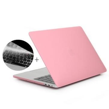 MacBook Pro 13.3 inch met Touchbar (A1708 - EU versie) 2 in 1 Frosted patroon beschermende Hardshell ENKAY Hat-Prince behuizing met ultra-dun TPU toetsenbord Cover (roze)