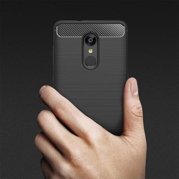 For Lenovo  K8 Brushed Carbon Fiber Texture TPU Shockproof Anti-slip Soft Protective Back Cover Case (Grey)