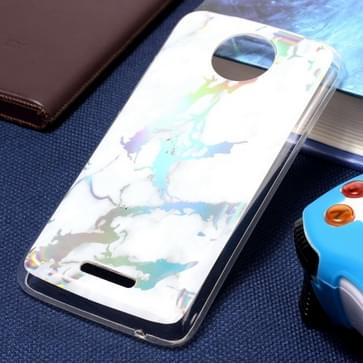For Motorola Moto C Plus White Gold Marble Pattern Soft TPU Protective Back Cover Case