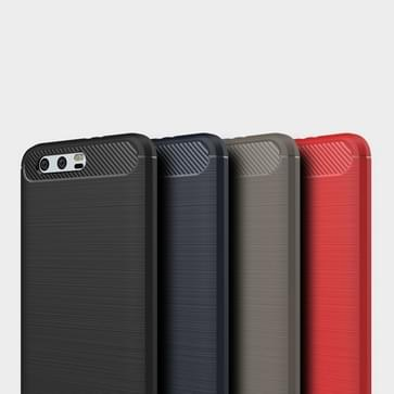 Huawei Honor 9 Geborsteld koolstofvezel structuur schokbestendig TPU back cover Hoesje (rood)
