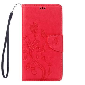 Voor Asus ZenFone 3 / ZE552KL ingedrukt Bloemen patroon lederen hoesje met houder & opbergruimte voor pinpassen & portemonnee (hard roze)