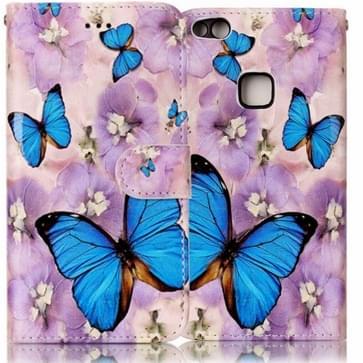 Huawei P10 Lite horizontaal 3D Paars vlinder patroon PU leren Flip Hoesje met foto frame, houder en opbergruimte voor pinpassen & geld