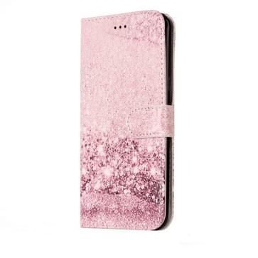 Huawei P10 horizontaal Roze goudkleurig patroon PU leren Flip Hoesje met houder en opbergruimte voor pinpassen & geld