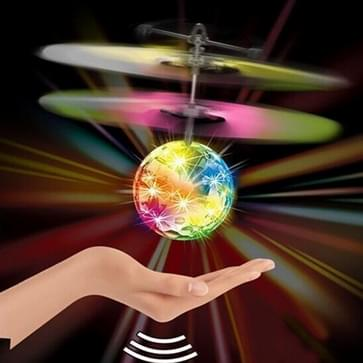 Mini Fun Kids Toy Suspended Crystal Ball Sensing Aircraft Hand Induction Flying Aircraft with Colorful LED Light  without Remote Control