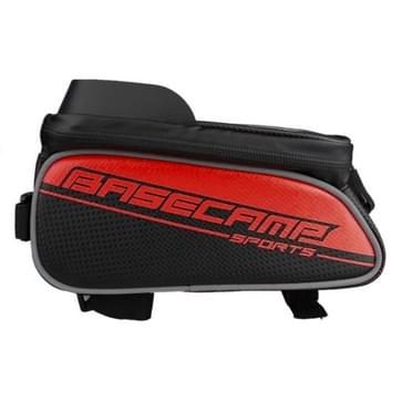 BaseCamp BC-302 Bicycle Phone Bags Mountain Road Bike Front Head Top Frame Handlebar Bag with Transparent Window & Sun Visor for 15*8cm and Below Smartphones  Big Size(Red)