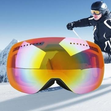 H009 Unisex dubbele lagen weids uitzicht anti-mist Windprooof UV bescherming sferische bril met verstelbare riem (Neon geel + geel oranje)