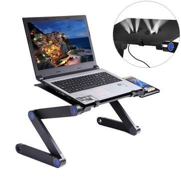 Draagbare 360 graden verstelbaar opvouwbaar aluminiumlegering bureaustandaard met dubbele CPU Fans & muismat voor Laptop / Notebook (zwart)