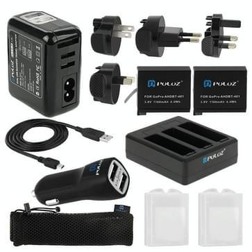 PULUZ 13 in 1 Accessoires Oplader Totale Combo Kit (Muur Lader / thuislader + Accu + Kabel + Autolader + Batterijlader + verzamel opbergtas) voor GoPro HERO 4