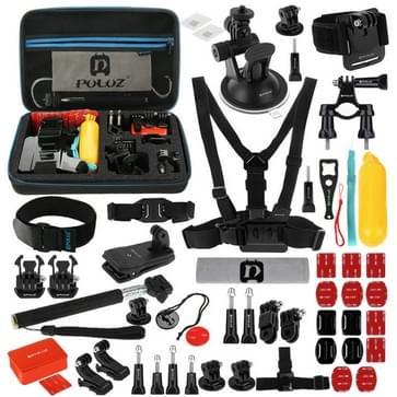 53 in 1 GoPro Accessoire Kit met oa. EVA hoes / case(borstband + Zuignap Houder + 3-wegs scharnierarmen + J-haak houder