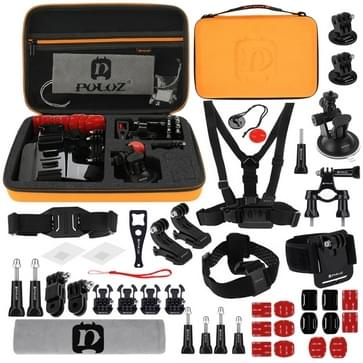 45 in 1 GoPro accessoire pakket met Orange EVA hoesje geschikt voor oa GoPro HERO4 Session 5 / 4 / 3+ / 3 / 2 / 1 / SJ4000 / SJ5000 / Dazzne / SOOCOO