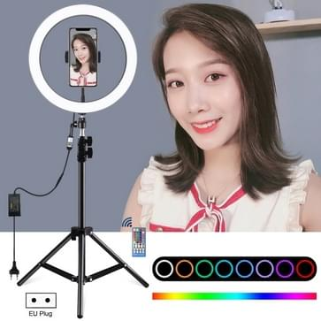 PULUZ 1.1m Tripod Mount + 12 inch RGB Dimbare LED Ring Vlogging Selfie Photography Video Lights Live Broadcast Kits with Cold Shoe Tripod Ball Head & Phone Clamp(EU Plug)