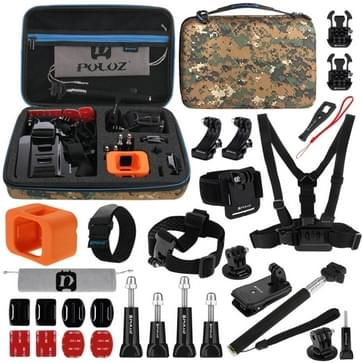 PULUZ 29 in 1 Accessories Combo Kit met Camouflage EVA hoesje (Borststrap + Hoofdband + Wrist Strap + Floating Cover + Surface Mounts + Backpack Rec-mount + J-Hook gesps + Extendable Monopod + Tripod bevestiging + Quick Release Buckles + Storage Bag +