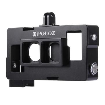 PULUZ 2 in 1 Housing Shell CNC Aluminum Alloy beschermings Cage met Lens Frame voor GoPro HERO4 /3+(zwart)