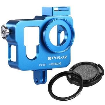 PULUZ Behuizing CNC Aluminium Kooi bescherming met 37mm UV-Filter Lens & Lens Cap voor GoPro HERO4 (blauw)