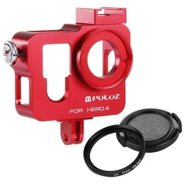 PULUZ Behuizing CNC Aluminium Kooi bescherming met 37mm UV-Filter Lens & Lens Cap voor GoPro HERO4 (rood)