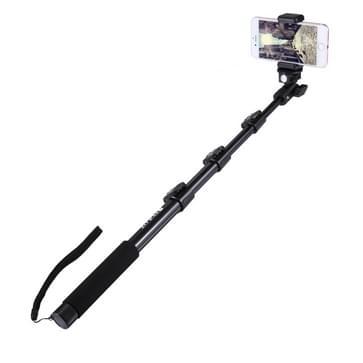 Uitschuifbare Selfie Stick / Monopod voor GoPro HERO (2018) 7 / 6 / 5 / 4 / 3+ / 3 / 2 / 1 en Smartphones, Lengte: 40-120cm (zwart)