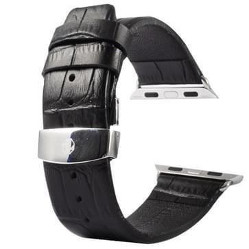 Kakapi krokodil structuur dubbele gesp echt lederen horlogeband met Connector voor horloge 38mm(zwart)