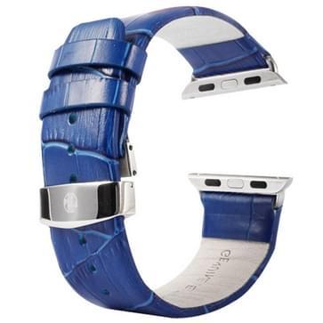 Kakapi krokodil structuur dubbele gesp echt lederen horlogeband met Connector voor horloge 38mm(blauw)