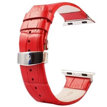 Kakapi krokodil structuur dubbele gesp echt lederen horlogeband met Connector voor horloge 38mm(rood)