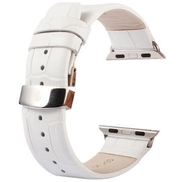 Kakapi krokodil structuur dubbele gesp echt lederen horlogeband met Connector voor horloge 38mmwit