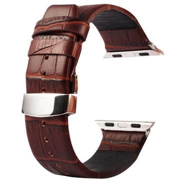 Kakapi krokodil structuur dubbele gesp echt lederen horlogeband met Connector voor Watch 42mm (koffie kleur)
