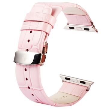 Kakapi krokodil structuur dubbele gesp echt lederen horlogeband met Connector voor horloge 42mm(roze)