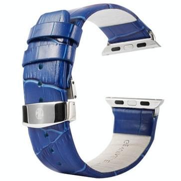 Kakapi krokodil structuur dubbele gesp echt lederen horlogeband met Connector voor horloge 42mm(blauw)