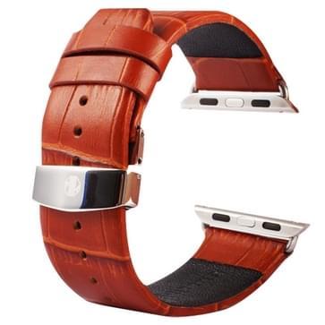 Kakapi krokodil structuur dubbele gesp echt lederen horlogeband met Connector voor horloge 42mm(bruin)