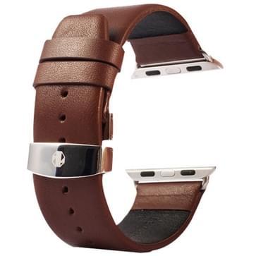 Kakapi subtiel structuur dubbele gesp echt lederen horlogeband met Connector voor Watch 42mm (koffie kleur)