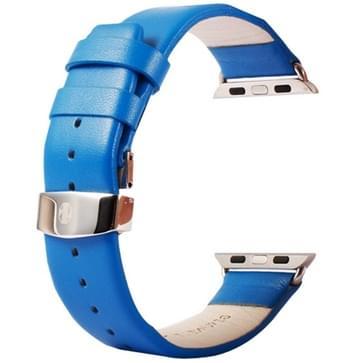 Kakapi subtiel structuur dubbele gesp echt lederen horlogeband met Connector voor horloge 42mm(blauw)