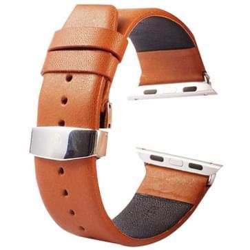 Kakapi subtiel structuur dubbele gesp echt lederen horlogeband met Connector voor horloge 42mm(bruin)