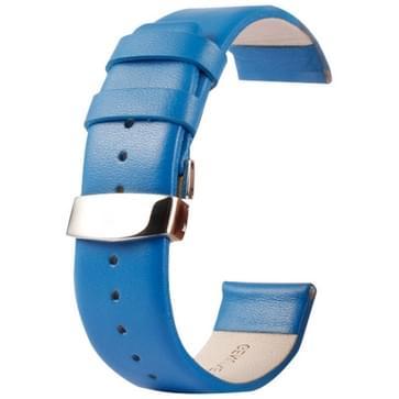 Kakapi subtiel structuur dubbele gesp echt lederen horlogeband voor horloge 38mm(blauw)