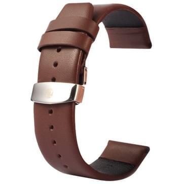 Kakapi subtiel structuur dubbele gesp echt lederen horlogeband voor Watch 42mm (koffie kleur)
