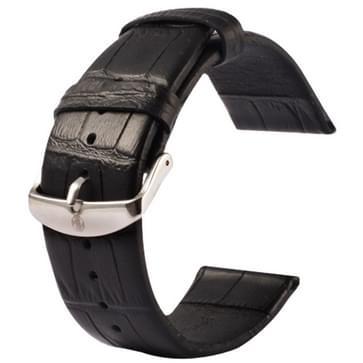 Kakapi krokodil structuur klassieke Buckle echt lederen horlogeband voor horloge 38mm(zwart)