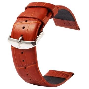 Kakapi krokodil structuur klassieke Buckle echt lederen horlogeband voor horloge 38mm(bruin)