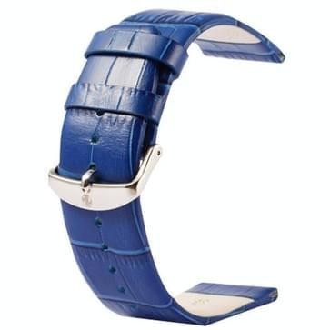 Kakapi krokodil structuur klassieke Buckle echt lederen horlogeband voor horloge 42mm(blauw)