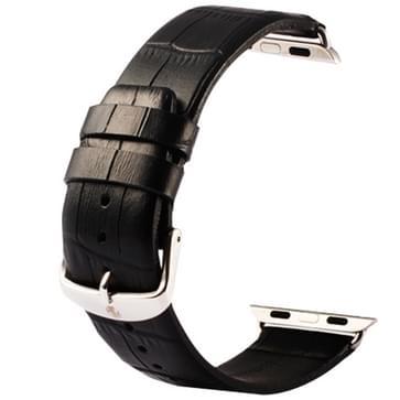 Kakapi krokodil structuur klassieke Buckle echt lederen horlogeband met Connector voor horloge 38mm(zwart)