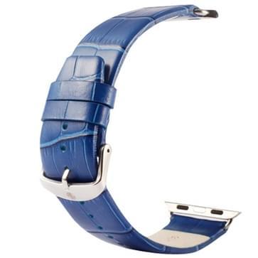 Kakapi krokodil structuur klassieke Buckle echt lederen horlogeband met Connector voor horloge 38mm(blauw)