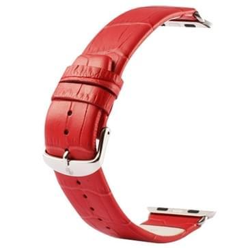 Kakapi krokodil structuur klassieke Buckle echt lederen horlogeband met Connector voor horloge 38mm(rood)
