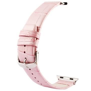 Kakapi krokodil structuur klassieke Buckle echt lederen horlogeband met Connector voor horloge 42mm(roze)