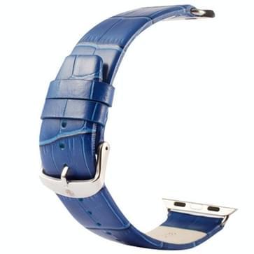 Kakapi krokodil structuur klassieke Buckle echt lederen horlogeband met Connector voor horloge 42mm(blauw)