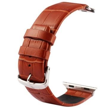 Kakapi krokodil structuur klassieke Buckle echt lederen horlogeband met Connector voor horloge 42mm(bruin)