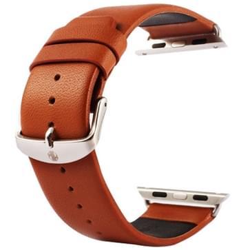 Kakapi subtiel structuur klassieke Buckle echt lederen horlogeband met Connector voor horloge 38mm(bruin)
