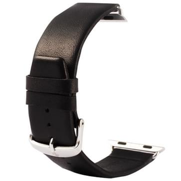 Kakapi subtiel structuur klassieke Buckle echt lederen horlogeband met Connector voor horloge 42mm(zwart)
