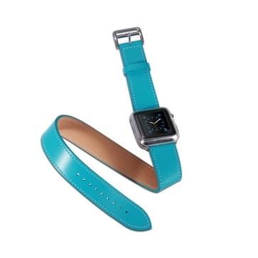 Voor Apple Watch 38mm dubbele cirkel stijl metalen gesp koeienhuid lederen horlogeband met Connector(Blue)
