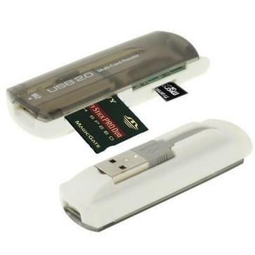 USB 2.0 Multi Card Reader, Support SD/MMC, MS, TF, M2 Card (grijs)