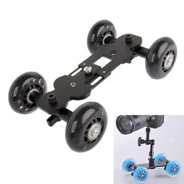 Vloer tabel Video schuifregelaar Track Dolly auto voor DSLR Camera (zwart)